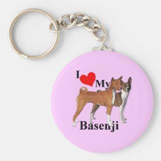 I Heart My Basenji Basic Round Button Key Ring
