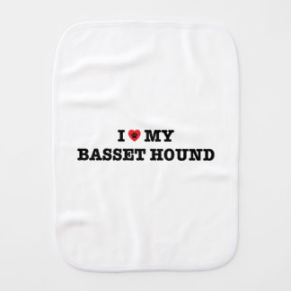 I Heart My Basset Hound Burp Cloth