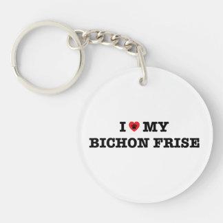 I Heart My Bichon Frise Acrylic Keychain