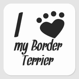 I Heart My Border Terrier Stickers