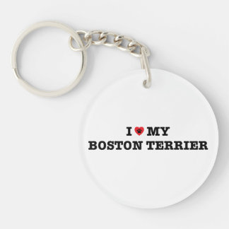I Heart My Boston Terrier Acrylic Keychain