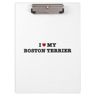 I Heart My Boston Terrier Clipboard