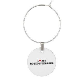 I Heart My Boston Terrier Wine Charm