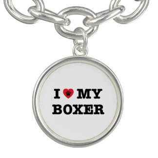 I Heart My Boxer Charm Bracelet