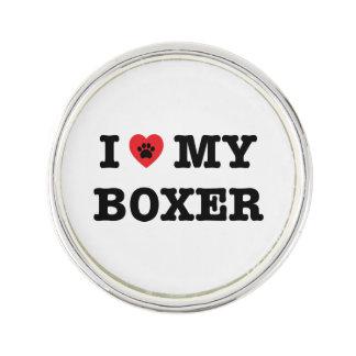 I Heart My Boxer Lapel Pin