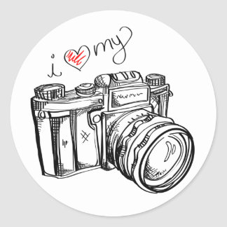 I Heart my Camera Sticker - Black & White
