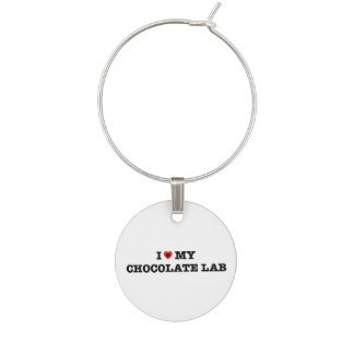 I Heart My Chocolate Lab Wine Charm