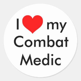 I heart my combat medic! classic round sticker