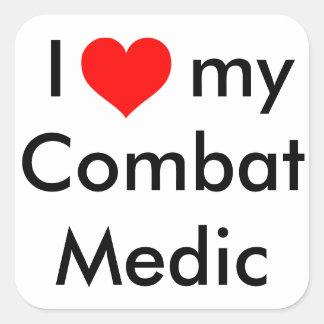 I heart my combat medic! square sticker