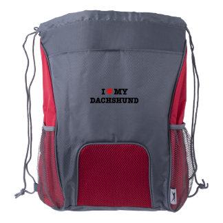 I Heart My Dachshund Drawstring Backpack