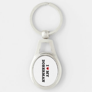 I Heart My Doberman Metal Keychain Silver-Colored Oval Key Ring