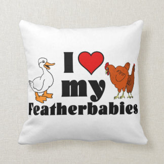 I Heart My Featherbabies Throw Pillow