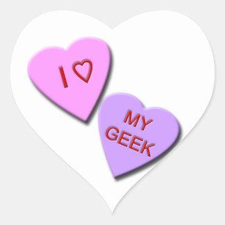 I Heart My Geek Candy Hearts Heart Stickers