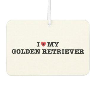 I Heart My Golden Retriever Car Air Freshener