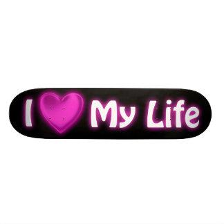 I Heart My Life Black and Hot Pink Skateboard