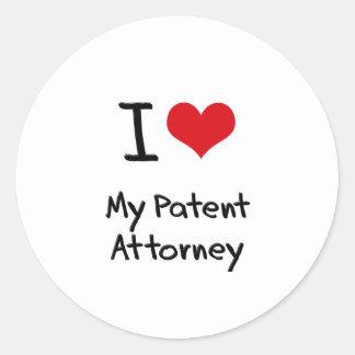 I heart My Patent Attorney Round Stickers