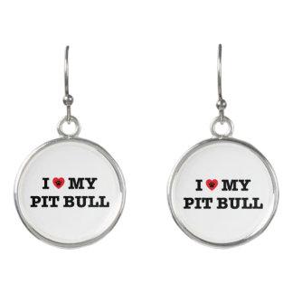 I Heart My Pit Bull Drop Earrings