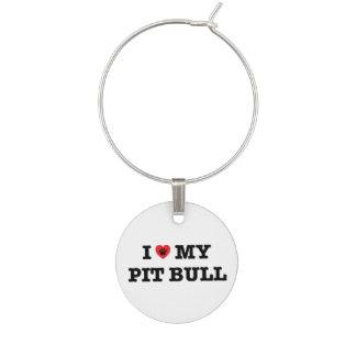 I Heart My Pit Bull Wine Charm