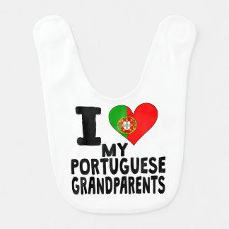 I Heart My Portuguese Grandparents Baby Bibs