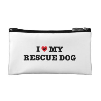 I Heart My Rescue Dog Cosmetic Bag