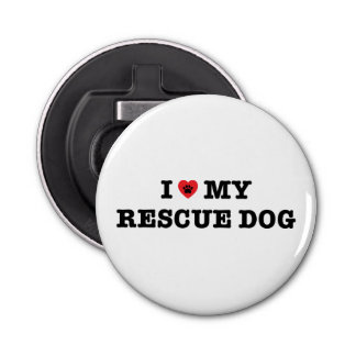 I Heart My Rescue Dog Fridge Magnet Bottle Opener