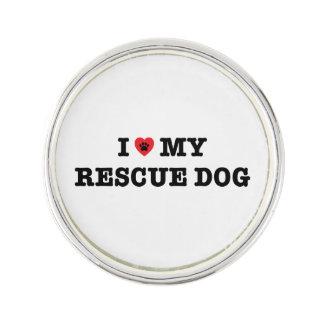 I Heart My Rescue Dog Lapel Pin
