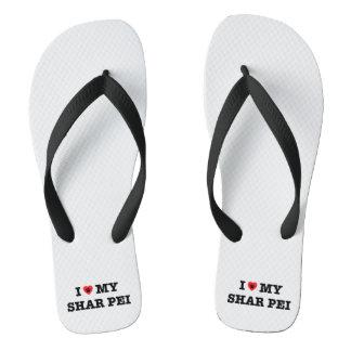 I Heart My Shar Pei Flip Flops Thongs