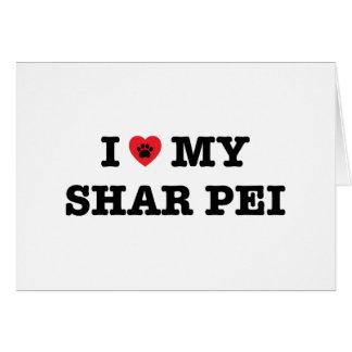 I Heart My Shar Pei Greeting Card - Blank Inside