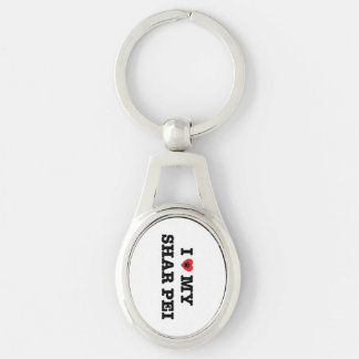 I Heart My Shar Pei Metal Keychain Silver-Colored Oval Key Ring