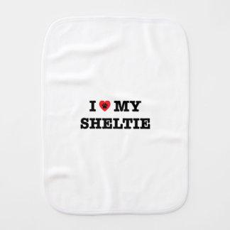 I Heart My Sheltie Burp Cloth