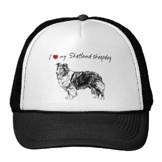 """I ""heart"" my Shetland sheepdog"" with dog graphic Cap"