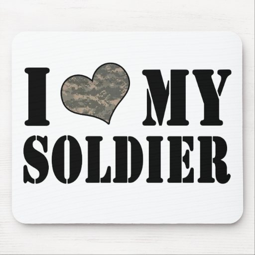 I Heart My Soldier Mousepads