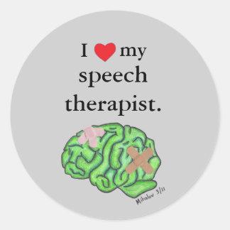 I [heart] my speech therapist classic round sticker