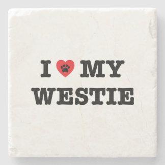 I Heart My Westie Stone Coaster