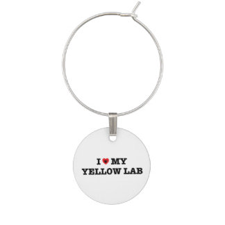 I Heart My Yellow Lab Wine Charm