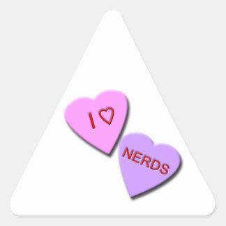 I Heart Nerds Triangle Stickers