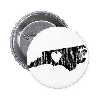I Heart North Carolina Grunge Outline State Love 6 Cm Round Badge