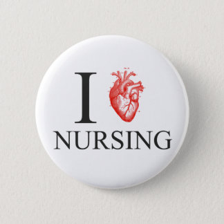 I Heart Nursing 6 Cm Round Badge