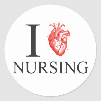 I Heart Nursing Round Sticker