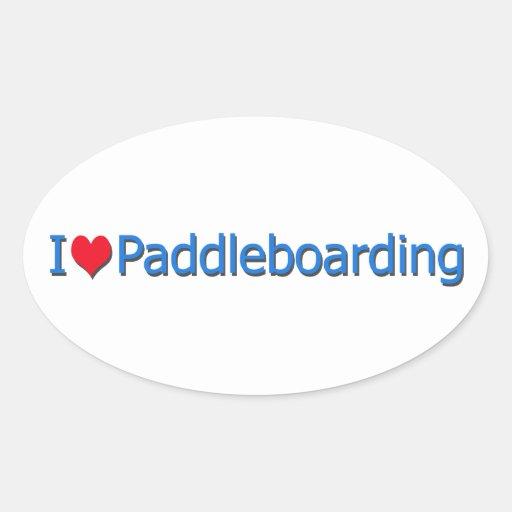 """I Heart Paddleboarding"" Logo Oval Stickers"