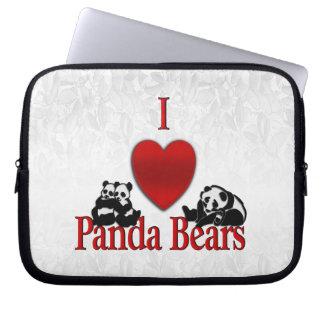 I Heart Panda Bears Fun Laptop Sleeve