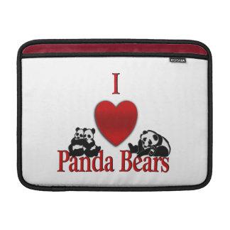 I Heart Panda Bears Fun MacBook Sleeve