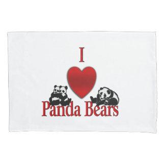 I Heart Panda Bears Fun Pillowcase