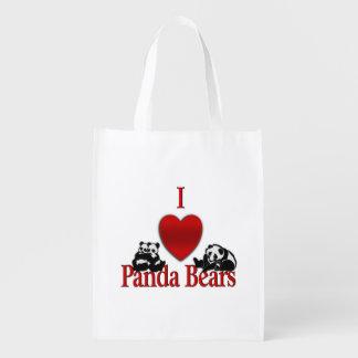 I Heart Panda Bears Fun Reusable Grocery Bag