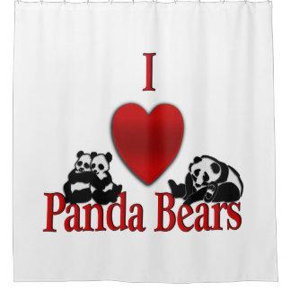 I Heart Panda Bears Fun Shower Curtain