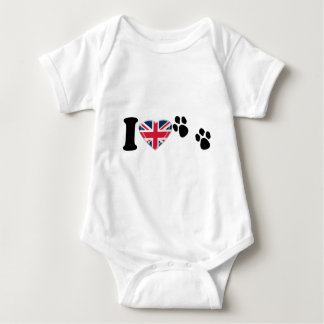 I Heart Paw Prints with 3D Union Jack Heart Design Baby Bodysuit