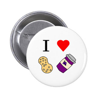 I heart Peanut Butter and Jelly Pinback Buttons