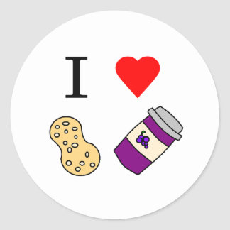 I heart Peanut Butter and Jelly Round Sticker