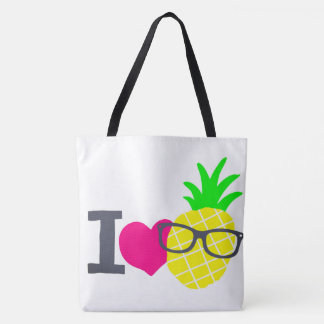 I heart pineapples blk/wht tote large
