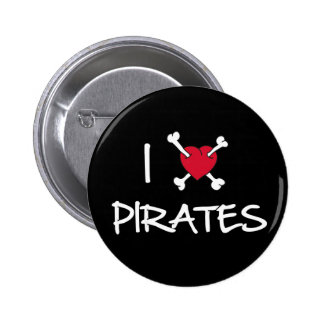 I Heart Pirates Crossbones Funny button